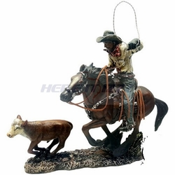 Cowboy on Horse with Calf Figurine
