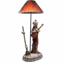 Cowgirl Playing Guitar Lamp