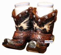 Double Boot Salt And Pepper Shaker Set
