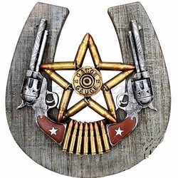 Double Revolver 12 Gauge Star Horseshoe Plaque