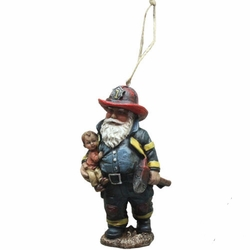 Firefighter Santa Claus Christmas Tree Ornament