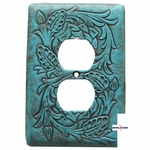 Floral Turquoise Electrical Outlet Cover