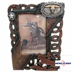Leather Strap  Longhorn Buckle 4x6 Frame
