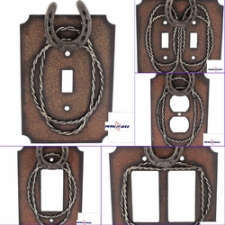 Metal Horseshoe & Barbwire Switch Plates and Outlet Plates