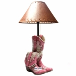 Pink Cowgirl Boot Lamp