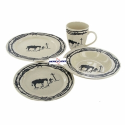 Praying Cowboy  Western Porcelain  Dish Set