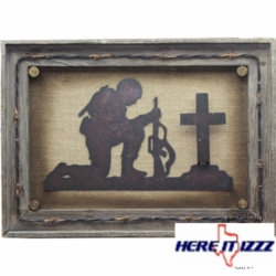 Praying Soldier Framed Wall Plaque