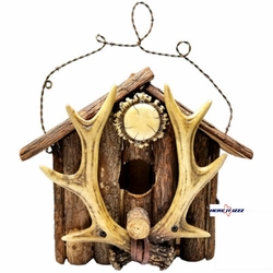 Antler Log Cabin Bird House