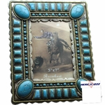 Silver Oval Turquoise Stone 5x7 Frame