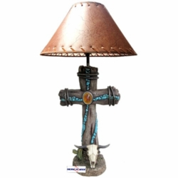 Southwestern Cross Cow Skull Lamp