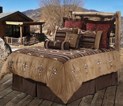 Navaho Cowhide Cross  Comforter Set King