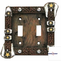 Star belt buckle double light switch plate