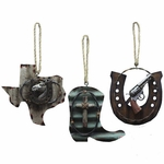 Texas Barn Tin Barbed Wire Ornament Set