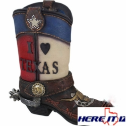 Texas Cowboy Boot Table Lamp Night