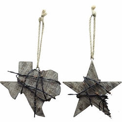Texas Lone Star Barbed Wire Wooden Orniment Set