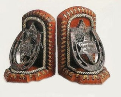 Texas Sheriff Horseshoe Book Ends  Cowboy Decor