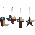 Texas Wood 4 Piece Ornaments