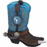Turquoise And Brown Cowboy Boot Night Light