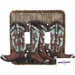 Turquoise Boot Double Switch Plate