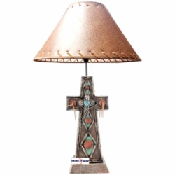 Turquoise and Burgundy Cross Lamp