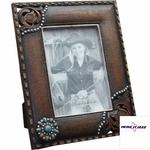 Turquoise Concho Tooled 7x5 Frame