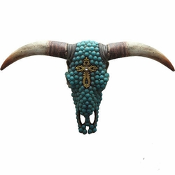 Turquoise Cow Skull with Rhinestone Cross