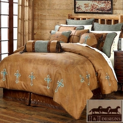 Turquoise Cross Comforter Set King