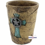 Rock Look Turquoise Cross Wastebasket