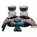 Turquoise Cross Salt and Pepper Shakers