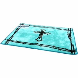 Turquoise Cross with Barbed Wire Rug