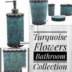 Turquoise Flowers Bathroom Collection