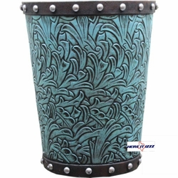 Turquoise Flowers Trash Can