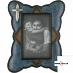 Turquoise Leather Cross 4x6 Frame