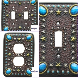 Turquoise Stone with Stars Electrical Switch Covers