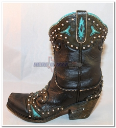 Turquoise Trimmed and Studded Cowboy boot bank