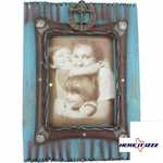 Turquoise Wood Nail Cross 8x10 Frame