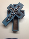 Western Rustic Decor Turquoise Silver Scroll Wooden Double Cross Box R