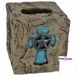 Rock Look Turquoise Cross Tissue Box Cover