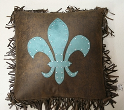 Turquoise Fleur De Lis Throw Pillow