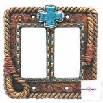 Turquoise Cross  Double Rocker Plate