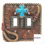 Turquoise Cross  Double Switch Cover