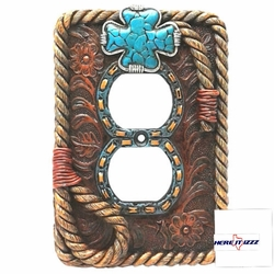 Turquoise Cross  Outlet Cover