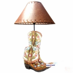 White Cowgirl Boot Lamp