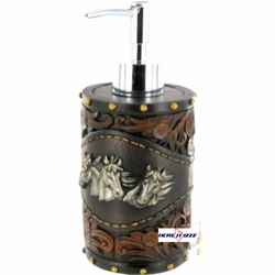 Horse Tooled Leather  Lotion Pump