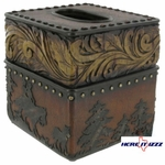 Wood Flower Cowboy Tissue Box Cover