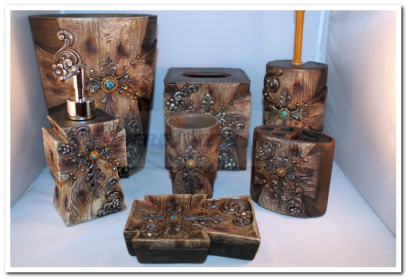 Wood look turquoise stone complete bath set for Turquoise bathroom accessories sets