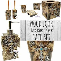 Wood Look Turquoise Stone Complete Bath Set