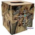 Wood Look Turquoise Stone Tissue Box Cover
