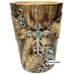 Wood Look Turquoise Stone Waste Basket