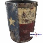 Worn Texas Flag Wastebasket